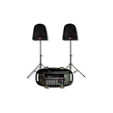 Soundtech PA Amp with 2 speakers/stands